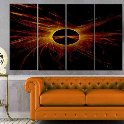 Designart Dark Solar Eclipse On Black Abstract ArtOn Canvas- 4 Panels