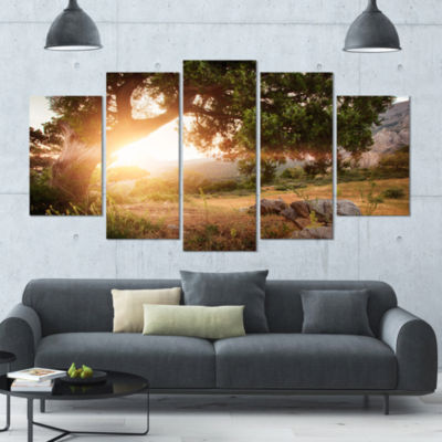 Picturesque Foros Mountains Abstract Art On Canvas- 4 Panels
