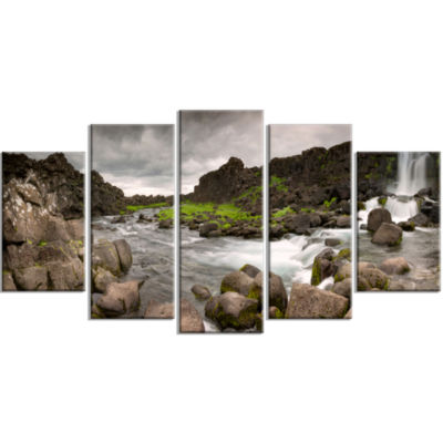 Dramatic Oxarafoss Waterfalls Contemporary Art OnCanvas - 5 Panels
