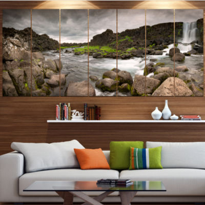 Dramatic Oxarafoss Waterfalls Abstract Art On Canvas - 7 Panels