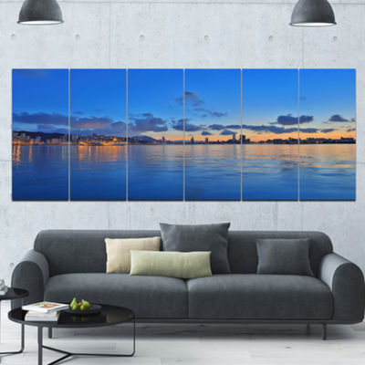 Hong Kong Skyline At Summer Night Abstract Wall Art Canvas - 6 Panels