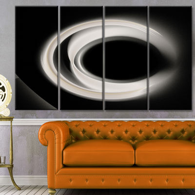Fractal White On Black Background Abstract Wall Art Canvas - 4 Panels