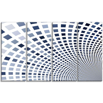 Designart Blue Square Pixel Mosaic Illustration Abstract Wall Art Canvas - 4 Panels