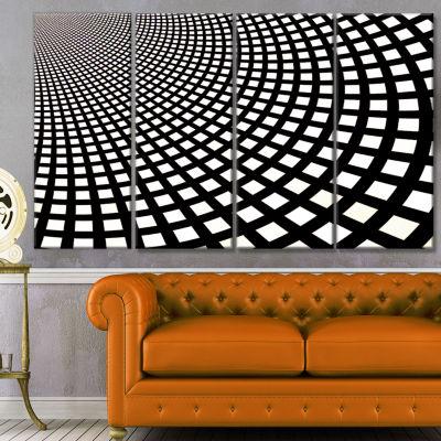 Fractal Square Pixel Mosaic Illustration AbstractWall Art Canvas - 4 Panels
