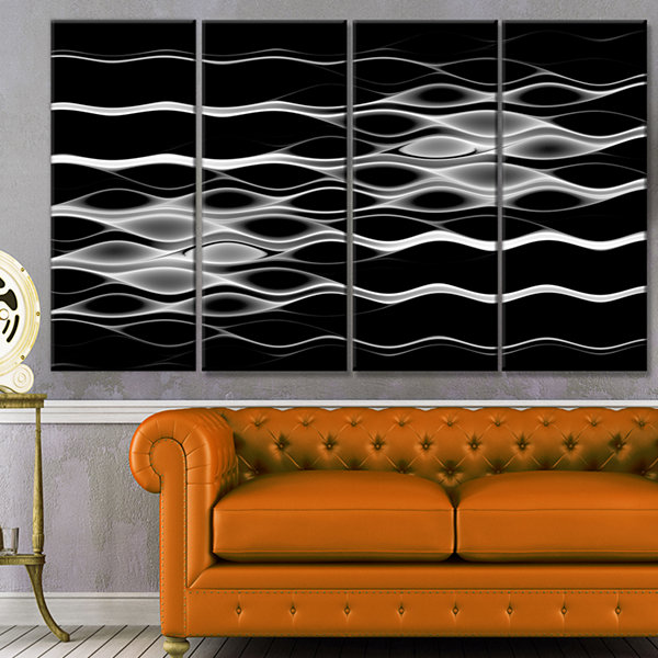 White Waves Fractal Pattern Abstract Wall Art Canvas - 4 Panels