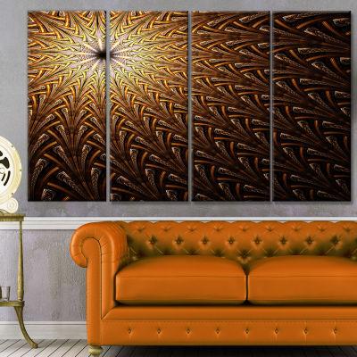 Designart Dark Orange Fractal Flower Pattern Abstract Wall Art Canvas - 4 Panels