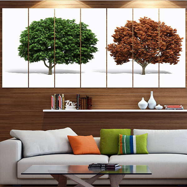 Green And Red 3D Fractal Trees Abstract Wall Art Canvas - 7 Panels