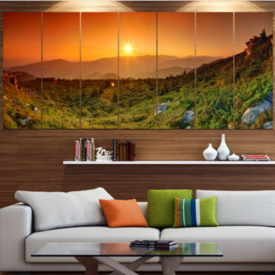 Summer In Mountains Panorama Abstract Wall Art Canvas - 4 Panels