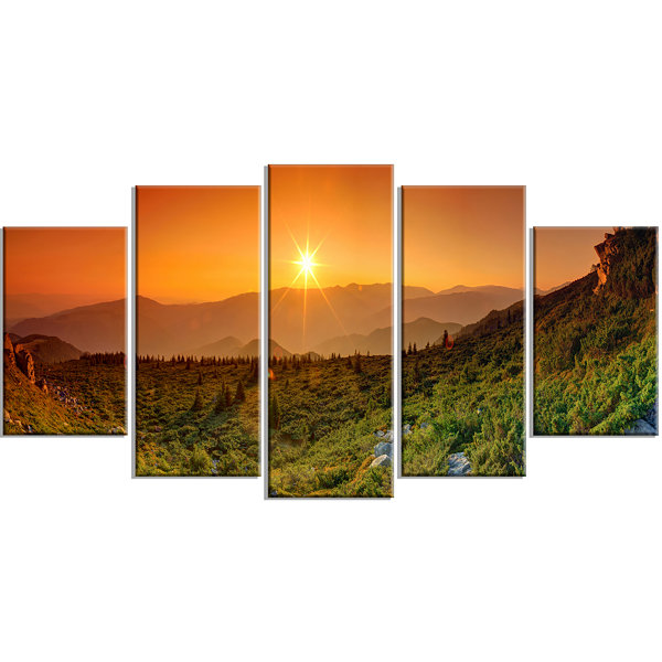 Summer In Mountains Panorama Contemporary Wall ArtCanvas - 5 Panels