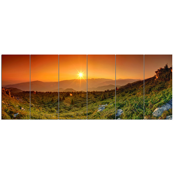 Summer In Mountains Panorama Abstract Wall Art Canvas - 6 Panels