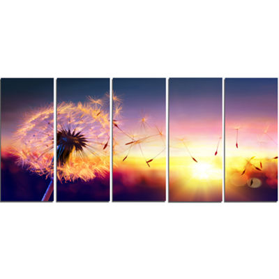 Designart Dandelion At Sunset Freedom To Wish Abstract WallArt Canvas - 5 Panels