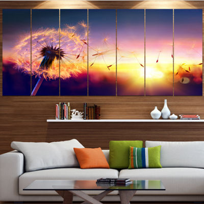 Designart Dandelion At Sunset Freedom To Wish Abstract WallArt Canvas - 7 Panels
