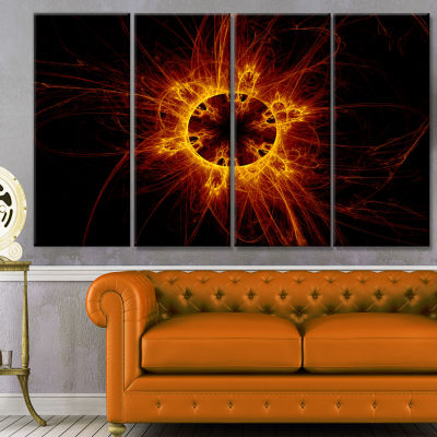 Solar Eclipse Digital Illustration Abstract Wall Art Canvas - 4 Panels
