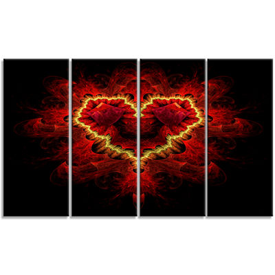 Fractal Red Heart Texture Abstract Wall Art Canvas- 4 Panels