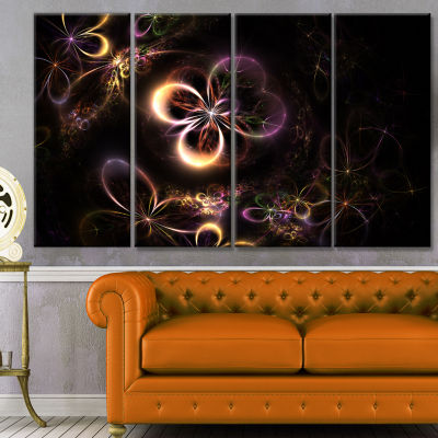Glowing Small Fractal Flowers Abstract Wall Art Canvas - 4 Panels