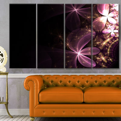 Purple Shiny Fractal Flowers Abstract Wall Art Canvas - 4 Panels
