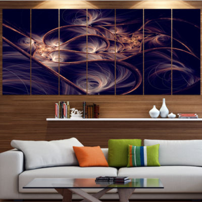 Designart Dark Gold Fractal Flower Pattern Abstract Canvas Art Print - 6 Panels
