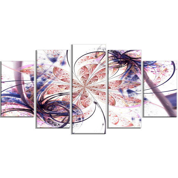 Designart Blue Pink Fractal Flower Pattern Contemporary WallArt Canvas - 5 Panels