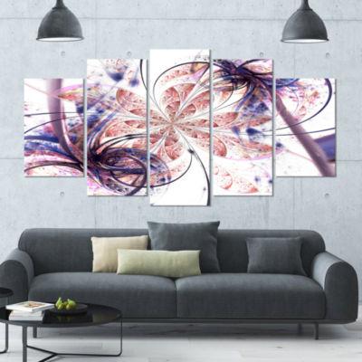 Designart Blue Pink Fractal Flower Pattern Abstract Wall ArtCanvas - 5 Panels