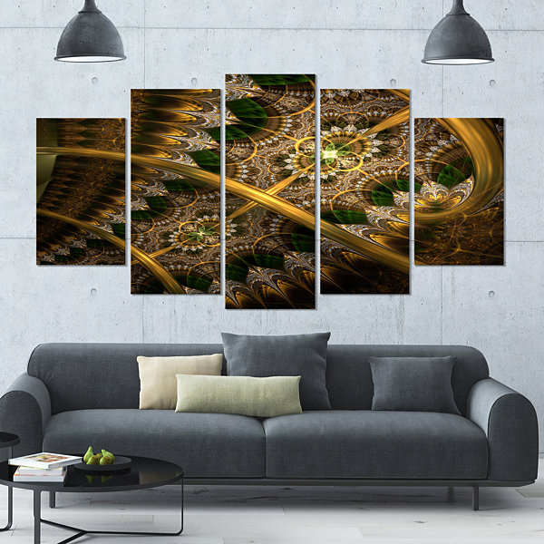 Designart Dark Green Gold Fractal Flower Contemporary Wall Art Canvas - 5 Panels