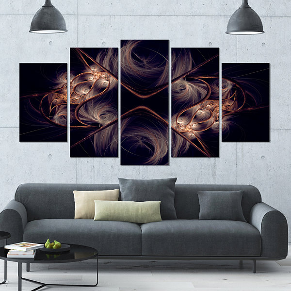 Designart Dark Gold Fractal Flower Pattern Contemporary WallArt Canvas - 5 Panels