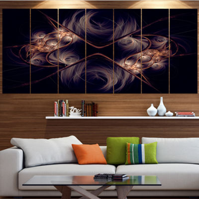 Designart Dark Gold Fractal Flower Pattern Abstract Wall ArtCanvas - 5 Panels