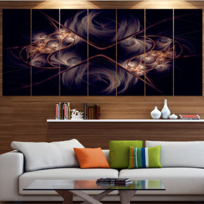 Designart Dark Gold Fractal Flower Pattern Abstract Wall ArtCanvas - 6 Panels
