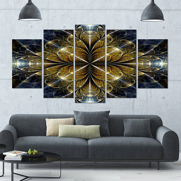 Digital Gold Fractal Flower Pattern Abstract WallArt Canvas - 4 Panels