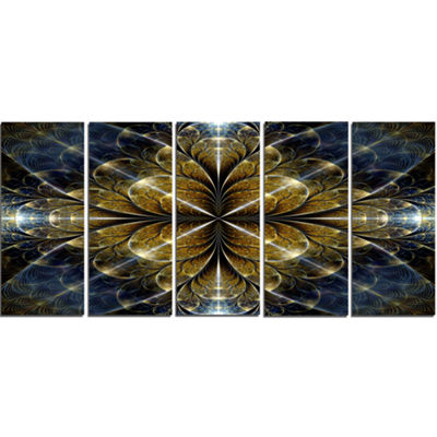 Digital Gold Fractal Flower Pattern Abstract WallArt Canvas - 5 Panels