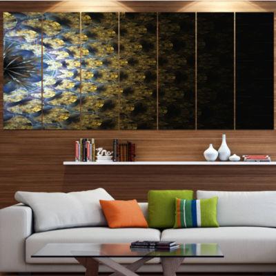 Symmetrical Gold Fractal Flower Abstract Wall ArtCanvas - 4 Panels