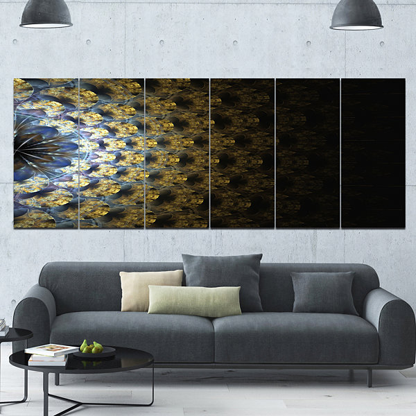 Symmetrical Gold Fractal Flower Abstract Wall ArtCanvas - 6 Panels