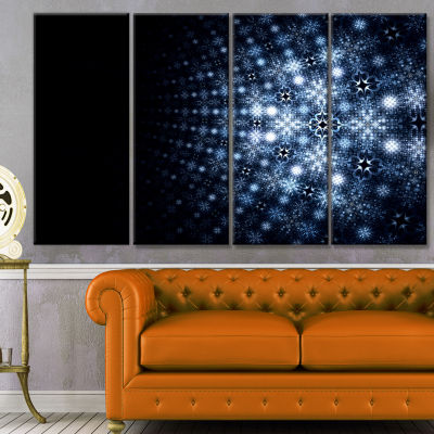 Digital Fractal Flower Perspective Abstract Wall Art Canvas - 4 Panels