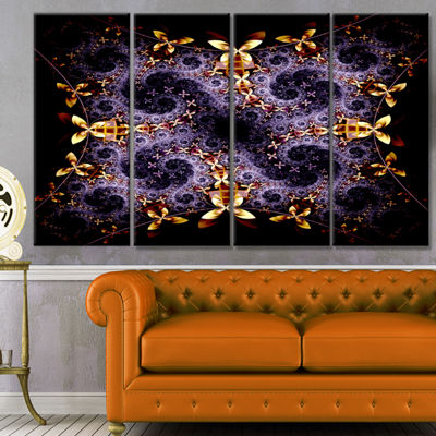 Yellow And Violet Fractal Flower Abstract Wall ArtCanvas - 4 Panels
