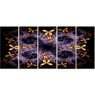 Yellow And Violet Fractal Flower Abstract Wall ArtCanvas - 5 Panels