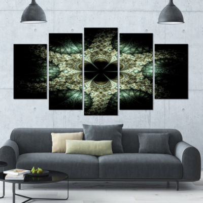 Yellow And Green Fractal Flower Contemporary WallArt Canvas - 5 Panels