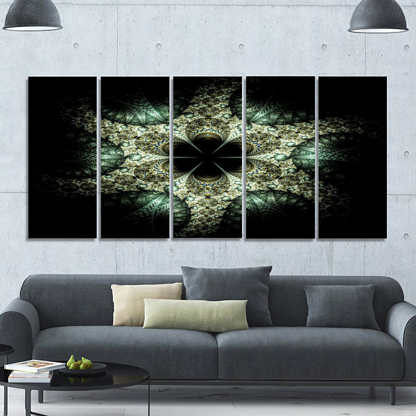 Yellow And Green Fractal Flower Abstract Wall ArtCanvas - 5 Panels