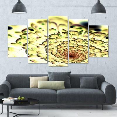 Green Light Fractal Flower Pattern Contemporary Wall Art Canvas - 5 Panels