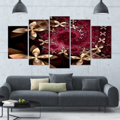 Yellow And Red Fractal Flower Pattern Abstract Wall Art Canvas - 5 Panels
