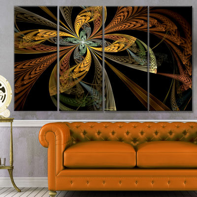 Colorful Fractal Flower Pattern Abstract Canvas Art Print - 4 Panels