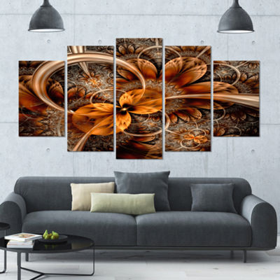 Designart Dark Orange Fractal Flower ContemporaryWall Art Canvas - 5 Panels