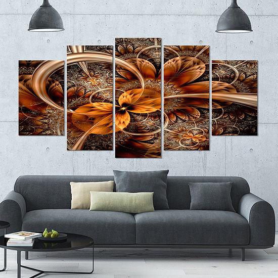 Designart Dark Orange Fractal Flower ContemporaryWall Art Canvas - 5 Panels