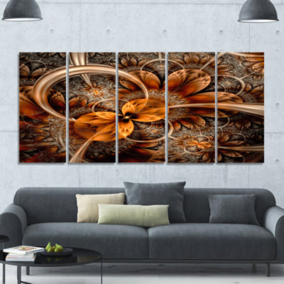 Dark Orange Fractal Flower Abstract Wall Art Canvas - 5 Panels