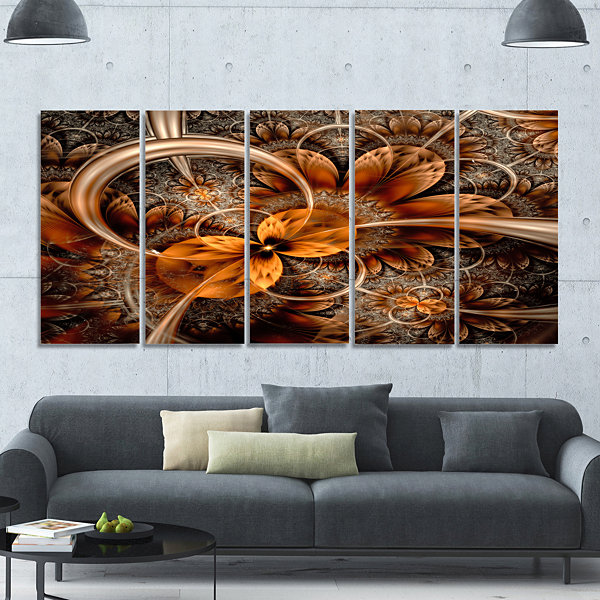 Design Art Dark Orange Fractal Flower Abstract Wall Art Canvas - 5 Panels