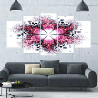 Violet Fractal Flower Pattern Contemporary Wall Art Canvas - 5 Panels