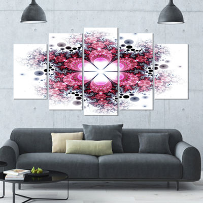 Violet Fractal Flower Pattern Abstract Wall Art Canvas - 5 Panels
