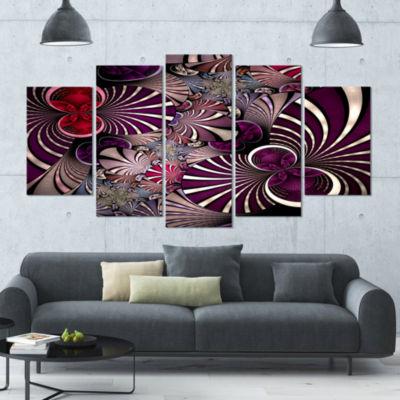 Designart Dark Violet Fractal Flower Abstract WallArt Canvas - 5 Panels