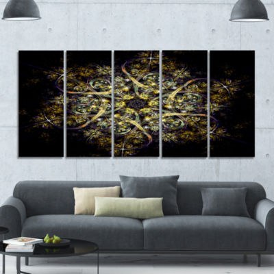 Black Yellow Fractal Flower Pattern Abstract WallArt Canvas - 5 Panels