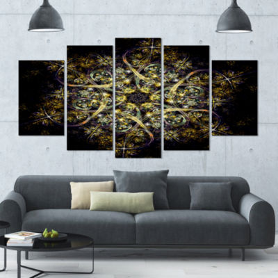 Designart Black Yellow Fractal Flower Pattern Abstract WallArt Canvas - 5 Panels