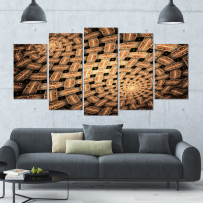 Symmetrical Brown Fractal Flower Contemporary WallArt Canvas - 5 Panels
