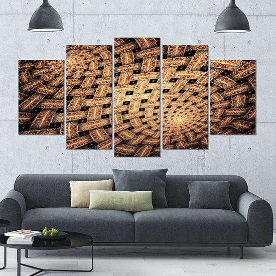 Symmetrical Brown Fractal Flower Contemporary WallArt Canvas - 5 Panels
